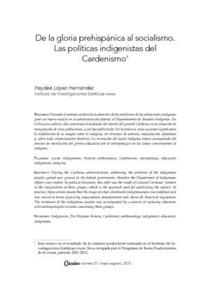 De la gloria prehispánica al socialismo. Las políticas indigenistas del Cardenismo