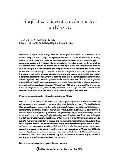 Lingüística e investigación musical en México