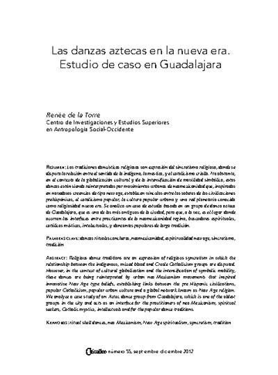 Las danzas aztecas en la nueva era. Estudio de caso en Guadalajara
