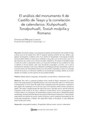 El análisis del monumento 4 de Castillo de Teayo y la correlación de calendarios: Xiuhpohualli, Tonalpohualli, Toxiuh molpilia y Romano