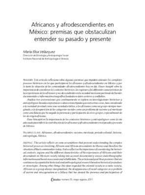 Africanos y afrodescendientes en México: premisas que obstaculizan entender su pasado y presente