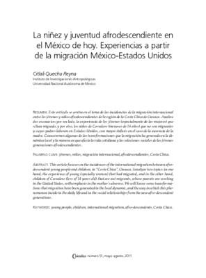 La niñez y juventud afrodescendiente en el México de hoy. Experiencias a partir de la migración México-Estados Unidos