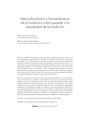 Interculturalismo y hermenéutica: de la tradición como pasado a la actualidad de la tradición