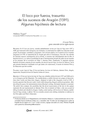 El loco por fuerza, trasunto de los sucesos de Aragón (1591). Algunas hipótesis de lectura