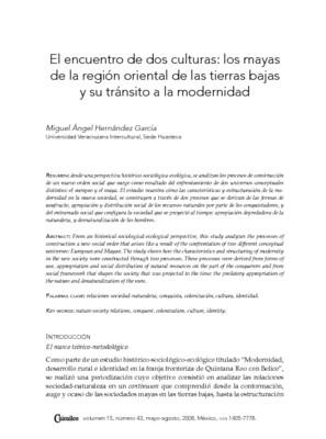 El encuentro de dos culturas: los mayas de la región oriental de las tierras bajas y su tránsito a la  modernidad