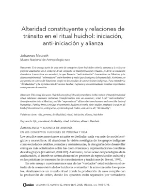 Alteridad constituyente y relaciones de tránsito en el ritual huichol: iniciación, anti-iniciación y alianza