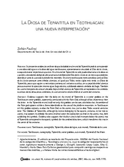 La Diosa de Tepantitla en Teotihuacan: una nueva interpretación