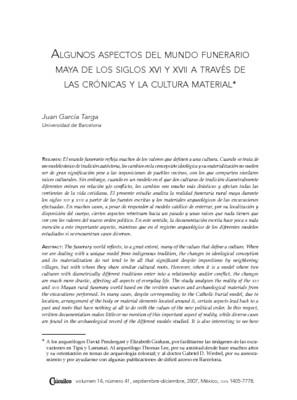 Algunos aspectos del mundo funerario maya de los siglos XVI y XVII a través de las crónicas y la cultura material
