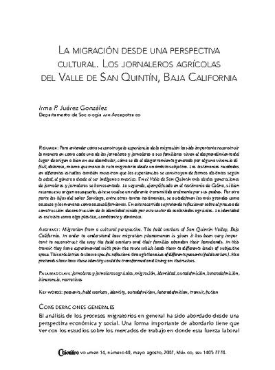La migración desde una perspectiva cultural. Los jornaleros agrícolas del Valle de San Quintín, Baja California