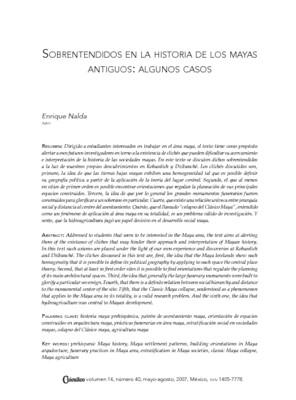 Sobrentendidos en la historia de los mayas antiguos: algunos casos