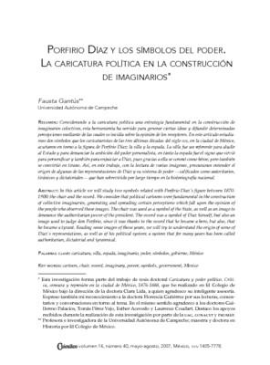 Porfirio Díaz y los símblos del poder. La caricatura política en la construcción de imaginarios