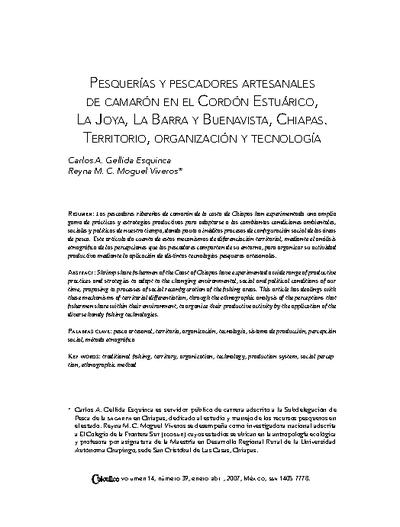 Pesquerías y pescadores artesanales de camarón en el Cordón Estuárico, La Joya, La Barra y Buenavista, Chiapas. Territorio, organización y tecnología