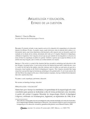 Arqueología y educación. Estado de la cuestión