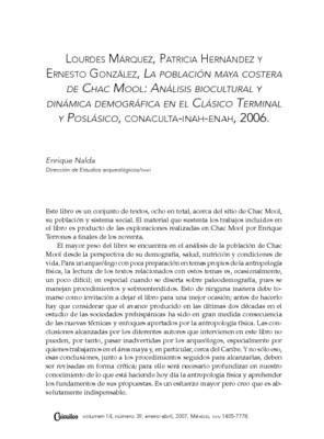 La población maya costera de Chac Mool: Análisis biocultural y dinámica demográfica en el Clásico Terminal y Posclásico