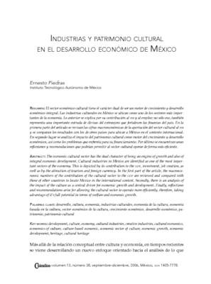Industrias y patrimonio cultural en el desarrollo económico de México