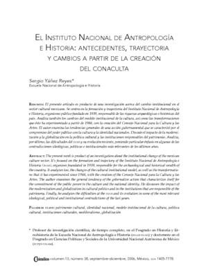 El Instituto Nacional de Antropología e Historia: Antecedentes, trayectoria y cambios a partir de la creación del CONACULTA