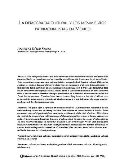 La democracia cultural y los movimientos patrimoniales en México