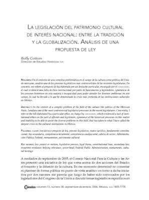 La legislación del patrimonio cultural de interés nacional: ente la tradición y la globalización