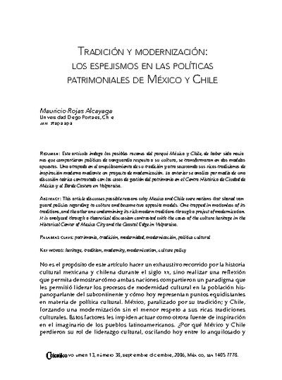 Tradición y modernización: Los espejismos en las póliticas patrimoniales de México y Chile