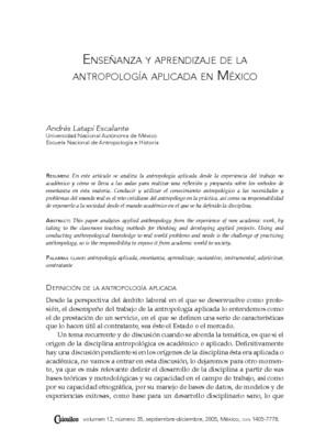 Enseñanza y aprendizaje de la antropología aplicada en México