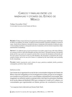Cargos y Familias entre los Mazahuas y Otomíes del Estado de México
