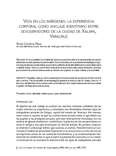 Vida en los Márgenes: La experiencia corporal como anclaje identitario entre sexoservidores de la ciudad de Xapala, Veracruz