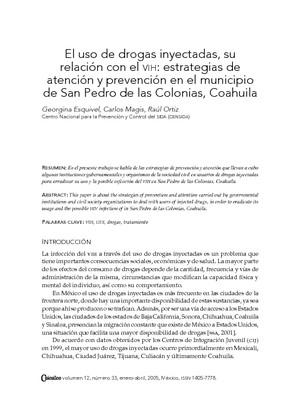 El uso de drogas inyectadas, su relación con el VIH: estrategias de atención y prevención en el municipio de San Pedro de las Colonias, Coahuila