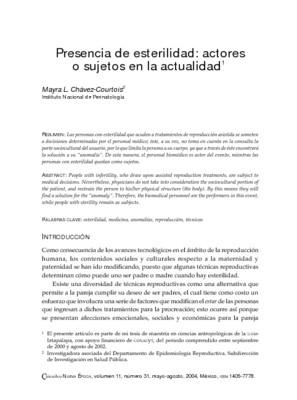Presencia de esterilidad: actores o sujetos en la actualidad.