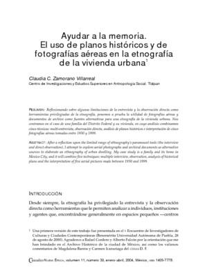 Ayudar a la memoria. El uso de planos históricos y de fotografías aéreas en la etnografía de la vivienda urbana