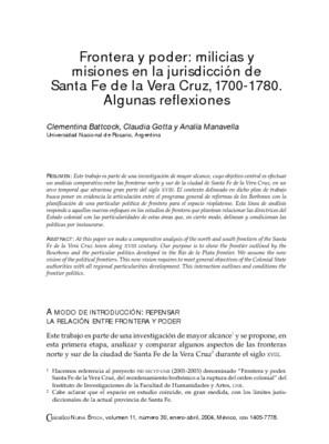 Frontera y poder: milicias y misiones en la jurisdicción de Santa Fe de la Vera Cruz, 1700-1780. Algunas reflexiones