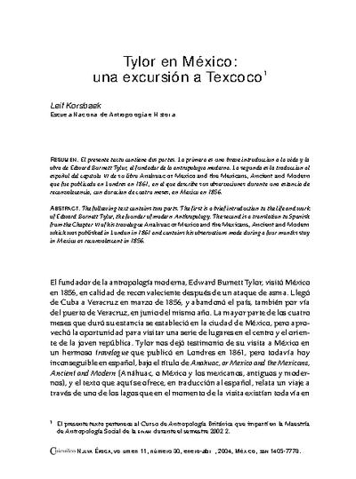 Tylor en México: una excursión a Texcoco