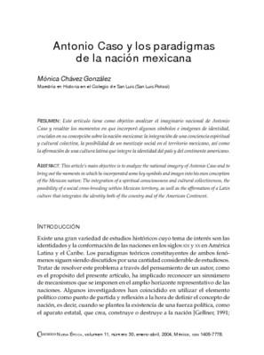 Antonio Caso y los paradigmas de la nación mexicana