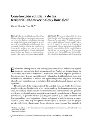 Construcción cotidiana de las territorialidades vecinales y barriales