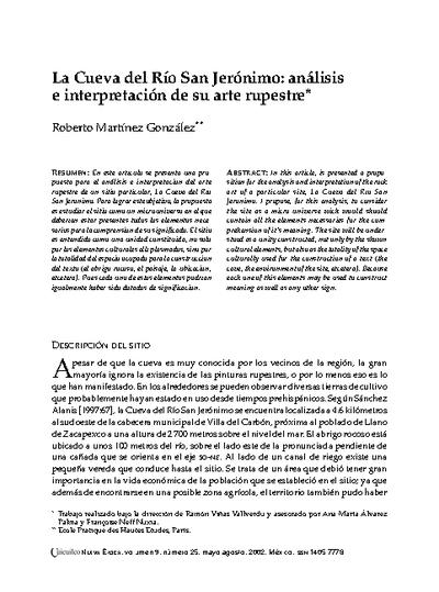 La Cueva del Río San Jerónimo: análisis e interpretación de su arte rupestre
