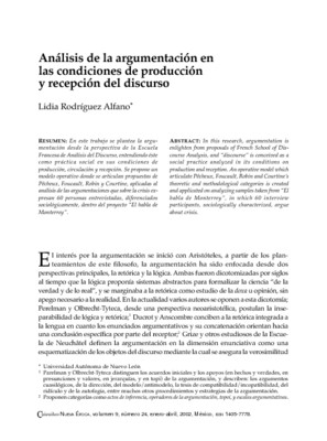 Análisis de la argumentación en las condiciones de producción y recepción del discurso
