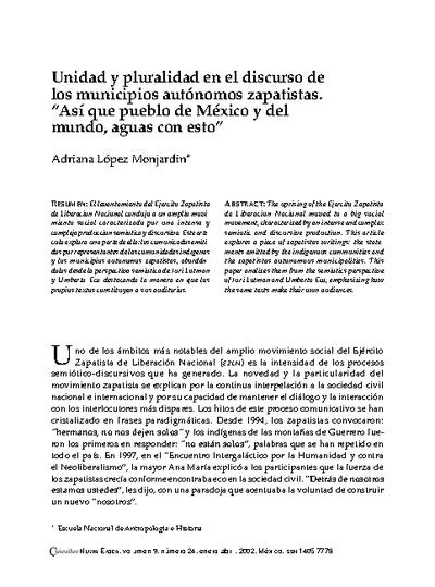 """Unidad y pluralidad en el discurso de los municipios autónomos zapatistas. """"Así que pueblo de México y del mundo, aguas con esto"""""""