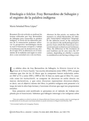 Etnología o folclor. Fray Bernardino de Sahagún y el registro de la palabra indígena