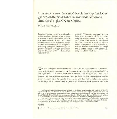 Una reconstrucción simbólica de las explicaciones gineco-obstétricas sobre la anatomía femenina durante el siglo XIX en México