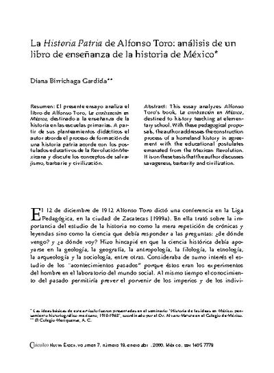 La Historia Patria de Alfonso Toro: análisis de un libro de enseñanza de la historia de México
