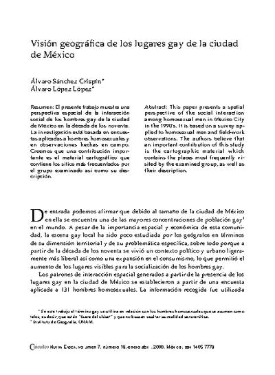 Visión geográfica de los lugares gay de la ciudad de México