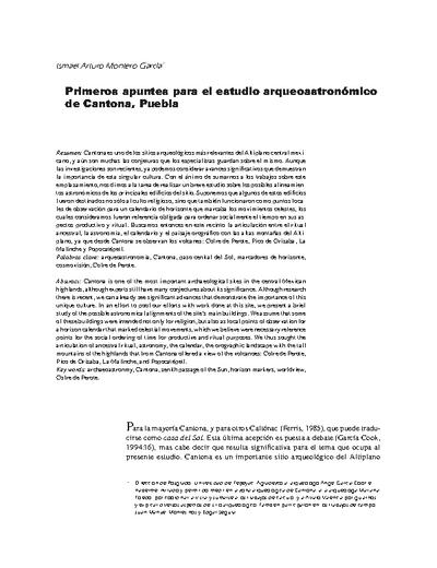 Primeros apuntes para el estudio arqueoastronómico de Cantona, Puebla