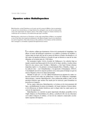 Apuntes sobre Huitzilopochco