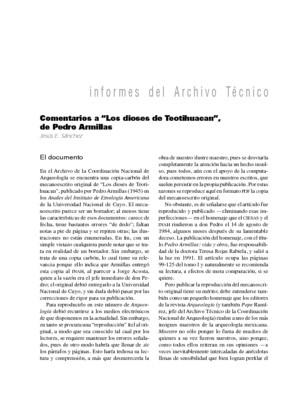 """Comentarios a """"Los dioses de Teotihuacan"""", de Pedro Armillas"""