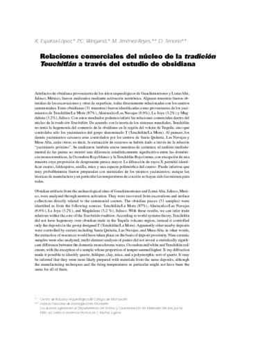 Relaciones comerciales del núcleo de la tradición Teuchitlán a través del estudio de obsidiana.