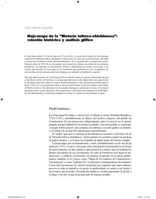 """Hoja-mapa de la """"Historia tolteca-chichimeca"""" : relación histórica y análisis glífico"""