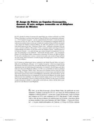 El Juego de Pelota en Capulac-Concepción, Amozoc. El más antiguo conocido en el Altiplano Central de México