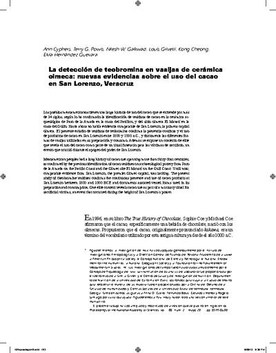 La detección de teobromina en vasijas de cerámica olmeca: nuevas evidencias sobre el uso del cacao en San Lorenzo, Veracruz