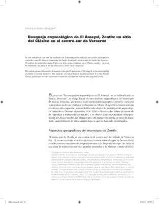 Bosquejo arqueológico de El Ameyal, Zentla: un sitio del Clásico en el centro-sur de Veracruz