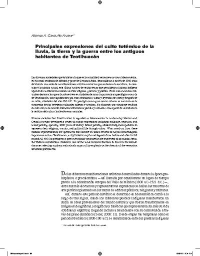 Principales expresiones del culto totémico de la lluvia, la tierra y la guerra entre los antiguos habitantes de Teotihuacán