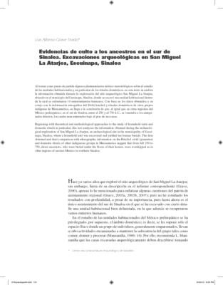 Evidencias de culto a los ancestros en el sur de Sinaloa. Excavaciones arqueológicas en San Miguel La Atarjea, Escuinapa, Sinaloa